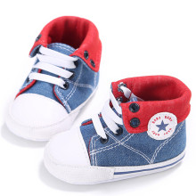 Newest Toddler Baby Canvas Shoes Lace-up Sneaker Soft Bottom Casual Shoe Prewalkers Baby Baby Star Logo Denim Stitching(China)