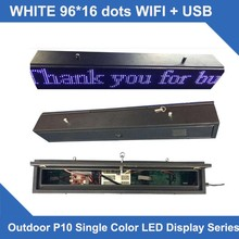 LED SCROLLING SIGN P10 white Single line LED scroller signs Led Display Board waterproof cabinet 16*96 dots wifi control system(China)