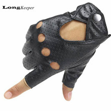 LongKeeper New Women's Gloves Fingerless Leather Glove Cut off Black Mittens Dancing Show Half Finger Gloves For Women A222(China)