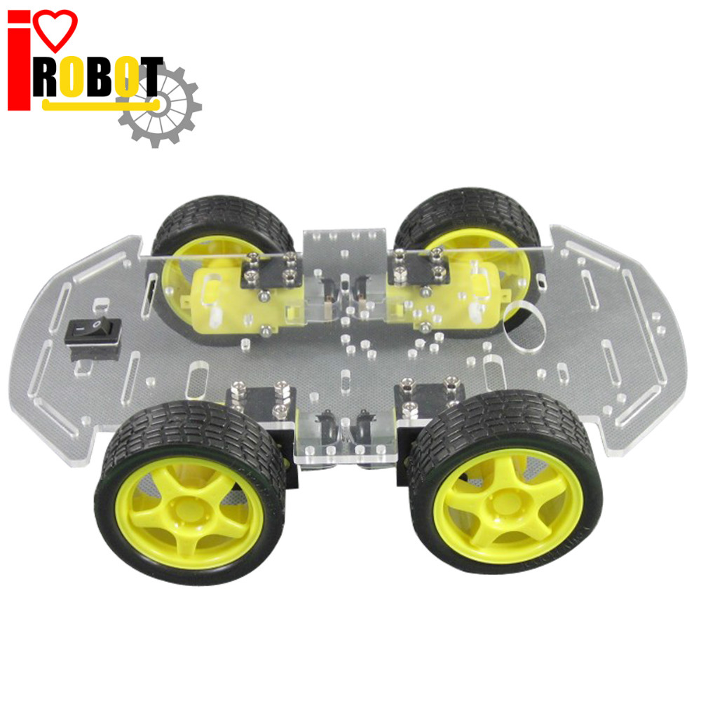 Rotoup B01 New Double Strong Motor Smart Robot Car Chassis 4WD Assembly Kit with Speed Encoder Battery Box 4 Wheel Drive #RBP009<br><br>Aliexpress