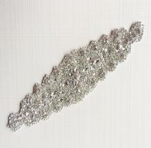 1 Piece Large Glass Bling Bling Bridal Iron on Rhinestone Applique for Bridal Sash Decoration 31CM