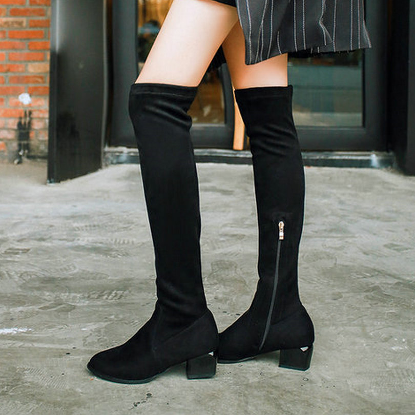 Hot Sale 2017 Western Style Sexy Black Boots Square Med Heel Flock Over The Knee Boots Women Warm Winter Long Boots Size 34-43<br><br>Aliexpress