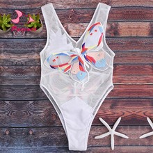 Pacento Embroidery Butterfly Swimsuit Sexy One Piece Swim Suit Mesh Swimwear Female Bathing Suit Women Monokini 2017 Plavky Damy(China)