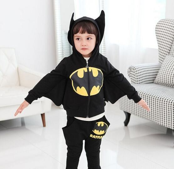 New winter spring fall fashion cool cartoon batman children boy girl suits hooded hat  coat pants batwing<br><br>Aliexpress