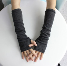 1 Pair New Design Stretchy Wrist Arm Hand Warmer Knitted Mittens Women Winter Long Fingerless Gloves Dark Grey(China)