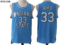 WINGISAM Men's Indiana State Sycamores Larry Bird #33 Blue Basketball Jerseys Embroidery Logos New Materials Double  Stitched