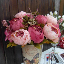 2 Color 1xBouquet 8Heads Florals Artificial Flowers Peony Silk flowers artificial flowers decoration Wedding Decoration(China)