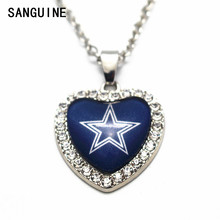 1pcs Dallas Cowboy Crystal Sports Glass Silver Heart Pendant Necklace 20 Inch Alloy Chains Necklace Women Necklace Jewelry(China)