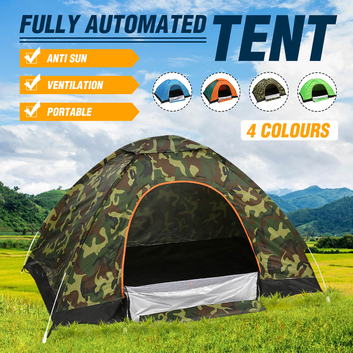 Portable Canopy Shelter Large Waterproof Sunshade Beach Hiking Green camouflage