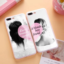 Flexible Silicone Clear TPU BFF Best Friends Brunette Blonde Sisters Girly Case Apple iPhone 4S 5C 5 5S SE 6 6S 7 Plus - Minason Europe Common Market Store store