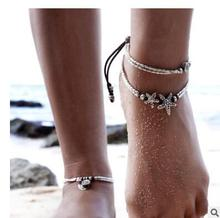 New arrival vintage Bohemian Retro National style Starfish and circle  Anklets for foot chain foot accessory