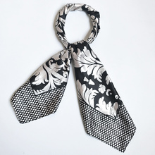 Black and White Floral Shawl Women Silk Square Scarf Classical Ancient foulard en soie Brand New