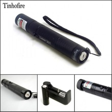Tinhofire Power 532nm 200mW Green Laser Pointer Pen zoomable Burning Matches Lazer Laser 301 + 18650 Battery 4000mah+ Charger(China)
