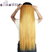 S-noilite Long gold blonde 66CM Real Thick Hairpiece Clip in Hair Extensions One Piece Straight Natural Synthetic Hair Extension