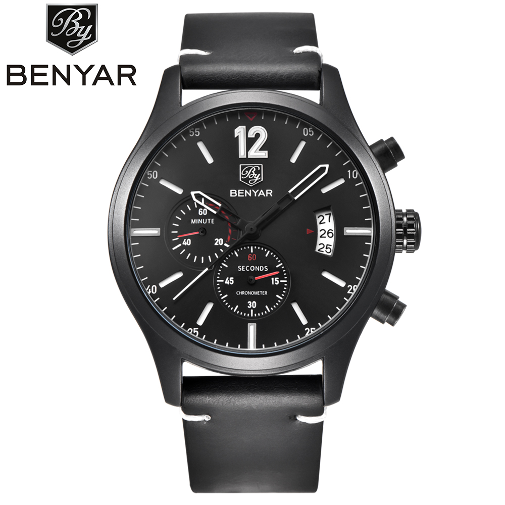 Top Brand BENYAR Luxury Sport Mens Quartz Watches Chronograph Dial Military Army Watch Genuine Leather Band Gift Reloj Hombre<br>