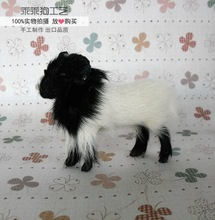 simulation cute white and black goat 10x4x8cm model polyethylene&furs goat  model home decoration props ,model gift d736