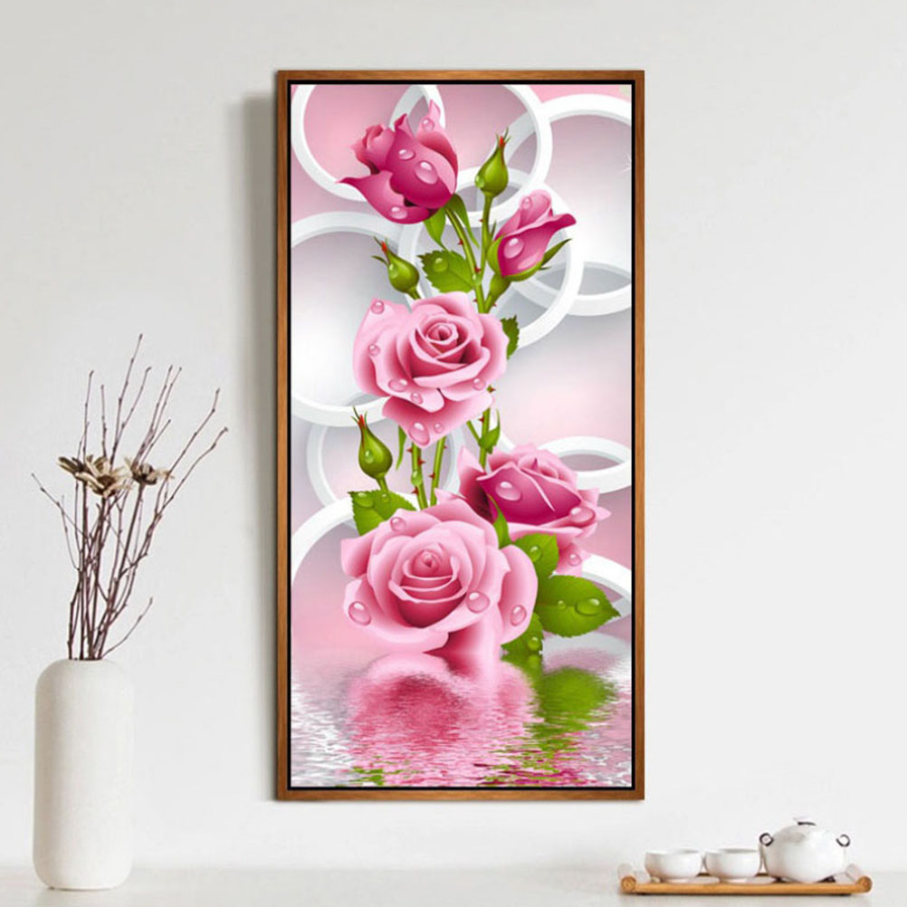 HOT 30*56cm 5D Diy Diamond Painting Cross Stitch Pink Rose Diamond Embroidery Flower Vertical Print Rubik
