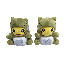 2017 Free Shipping 2Pcs/Lot 16cm Smile/Open Mouth Pikachu Cosplay Substitute Plush Stuffed Toys Doll With Tag(China)