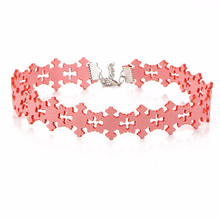 2017 Hot Sell Snowflake Shape Choker Necklaces For Women PU Leather Pink Chain Collares Fashion Jewelry Necklace Chokers Chocker