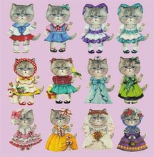 Miss Cat Dress Up Patches Scrapbooking Offset Press Film Iron-on Cloth Materials Offset PET Transfer Sticker DIY 19x24cm