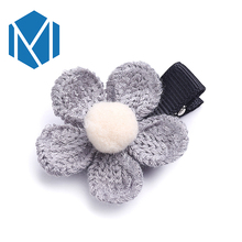 M MISM 2017 Retro Knitting Girl Hairpins Fabric Flower Cute Kids Accessories Korean Style Warm Hairgrip Sweet Hair Clip Headwear(China)