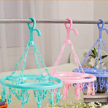 Plastic 18 Clips Clothes Sock Shorts Underwear Drying Rack Hanger Round Foldable(China)