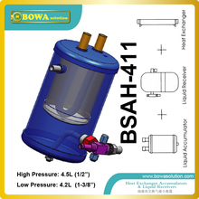 A combined refrigerant receiver, suction gas accumulator, and heat exchanger is provided and is useful in refrigeration unit(China)