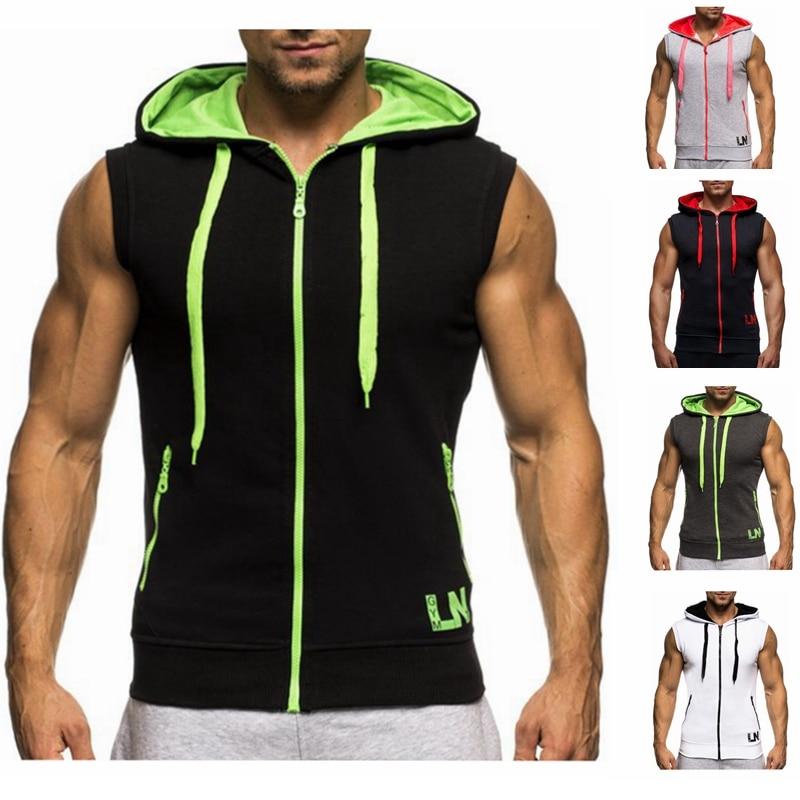 Male Bodybuilding Hoodies Fitness Clothes Hoody Cotton Hoodie Men Sweatshirts Men's Sleeveless Tank Tops Casual Vest 2