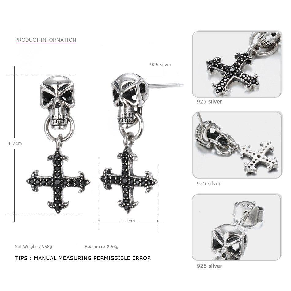 Say-You-Say-Me-925-Sterling-Skull-Earrings-Wholesale-Fashion-Black-Zircon-Cross-Earrings-Unisex-Best-T09