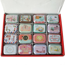 32pcs/lot small cute Storage Jewelry Decorative Tin boxes candy Box With Lids Candy Earphone Ring Christmas Gifts Boxes