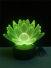 USB LED night light Lotus flower 3D 7colors Christmas Gifts Mood Lamp Touch kids Child living/bedroom table/desk lighting lamp(China)