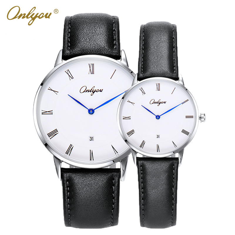 Onlyou Brand Calfskin Leather Quartz Watches for Men Women Roman Numerals Dial Stylish Boys Wristwatches Lovers Watch Gift 81082<br>