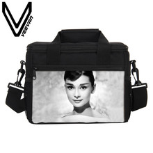 VEEVANV Brand 2017 Audrey Hepburn Pattern Lunch Bags 3D PU Prints Lunch Boxs Fashion PU Casual Small Lunch Picnic Bags for Women