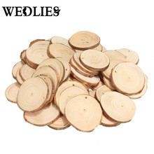 50Pcs/Lot Natural Wood Chips Slices DIY Hand Paint Craft Wedding Christmas Decoration Centerpieces Party Events Supplies Round(China)