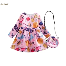 JXS NEAT stylish designed girls party fashion brand perfume printed dress children clothes long sleeves dress with bag set(China)