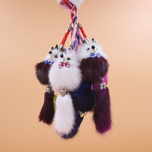 Cute Duck Fuzzy Wuzzy Charm Soft Plush mink Fur Lovely Duck Small panda Keychain Key Ring For Phone Bag Pendant Cartoon Doll