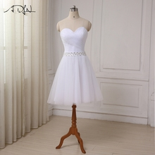 ADLN Robe De Mariage Cheap Short Wedding Dress 2017 Sexy Sweetheart Tulle Bridal Wedding Gown Little White Dress Real Sample(China)
