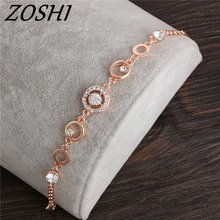 ZOSHI Rose Gold Color Chain Link Bracelet for Women Ladies Shining AAA Cubic Zircon Crystal Jewelry Gift Wholesale Price