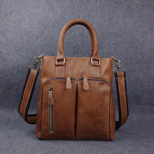 L# s selling handmade leather briefcase male head layer cowhide Shoulder Messenger Bag retro handbags ale bu