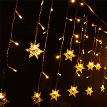 Yellow 3.5M Snowflake LED String Curtain Lights Holiday Xmas Wedding Decor Christmas Home Garden Decoration Lamp Drop Shipping