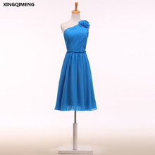 One Shoulder Blue Cocktail Dresses Elegant Short Cocktail Dress Flowers Cheap Formal Dress Knee Length Chic Short Prom Gown(China)