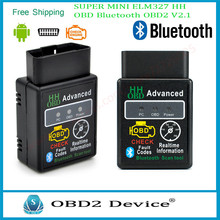 Powerful Super 2017 MINI ELM327 HH OBD Bluetooth OBD2 V2.1 Black Smart Car Diagnostic Tool For Android Windows Free Delivery(China)