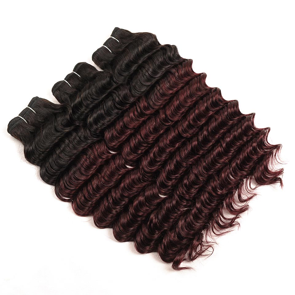 Pinshair T1BBurg Human Hair Weave 3 Bundles With Closure Malaysian Deep Wave Hair Closure And Bundles Non-remy Pre-Colored Hair (42)