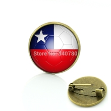 2017 Promotion Limited Brooches For Sportsman Jewelry Football Brooches Chile Flag Fans Dress Accessories Freeshipping Bp73(China)