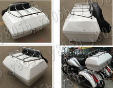 White Tail Box Luggage With Top Rack Backrest For Honda Shadow  ACE Steed VLX 400 600 1100 DLX VTX1300 1800 Magna VF 250 750