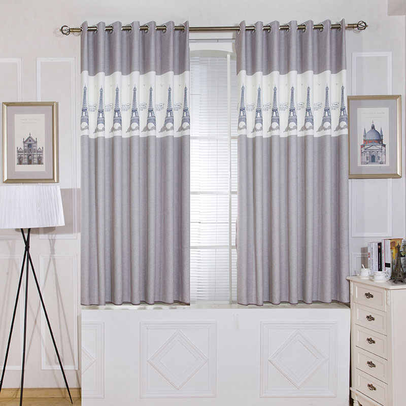 Single Panels Gray Short Bedroom Curtains Kitchen Europe Style Room Kids Decoration Tower Pattern Printed Curtains for Children