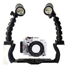 For Sony RX100 I II III IV Camera Underwater Waterproof Housing Diving Case+ Dual Flex Arm Bracket + Diving Led Video Torch