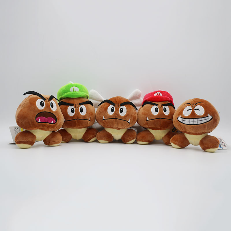 Super Mario Bros Goomba Plush Toys Game Cartoon Poisonous Mushrooms Soft Stuffed Dolls 5pcslot  (7)