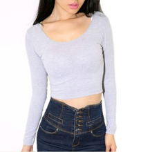 Fashion Sexy Women Crooped Tops Long Sleeve Hot Clubwear Tops Cropped T-shirt