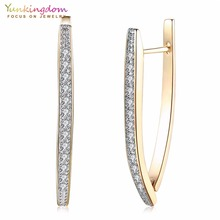 Cubic Zirconia Geometric Gold-Color Big Hoop Earrings for Women(China)